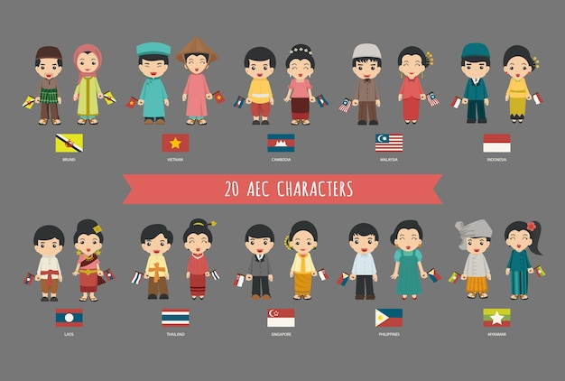 Set of 20 asian men and women in traditional costume with flag Premium Vector
