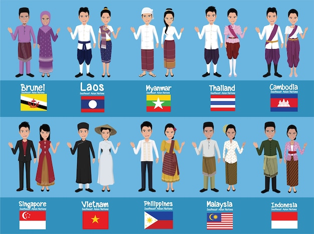 Set of 20 asian men and women in traditional costume Premium Vector