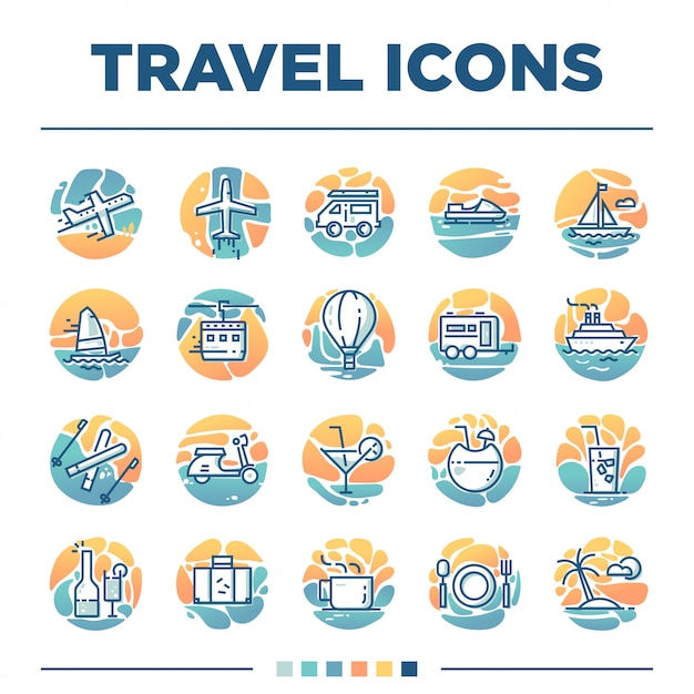 Set of 20 travel icons with unique style Premium Vector