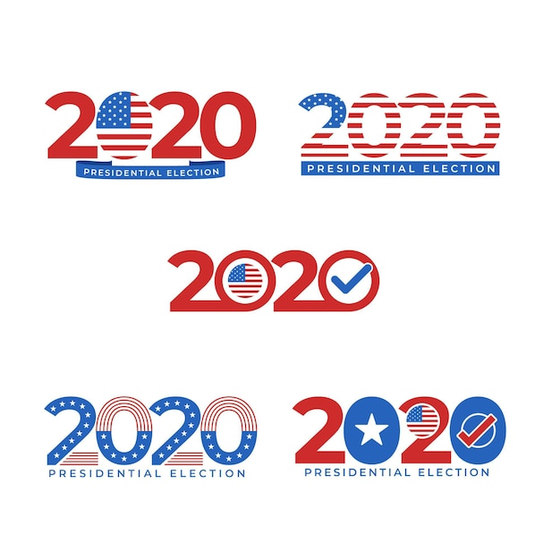 Set of 2020 us presidential election logos Free Vector
