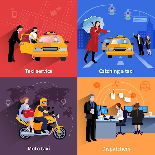 Set of 2x2 banners of taxi service system including dispatchers moto taxi and ordinary taxi Free Vector