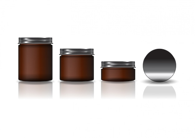 Set of 3 sizes brown cosmetic round jar with black lid. Premium Vector