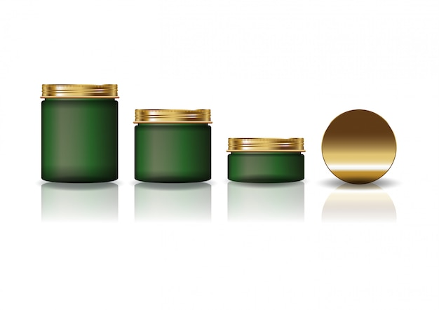 Set of 3 sizes green cosmetic round jar with gold lid for beauty or healthy product. Premium Vector