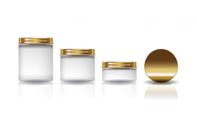 Set of 3 sizes white cosmetic round jar with gold lid for beauty or healthy product. Premium Vector