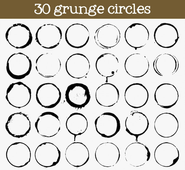 Set of 30 grunge circle textures Free Vector