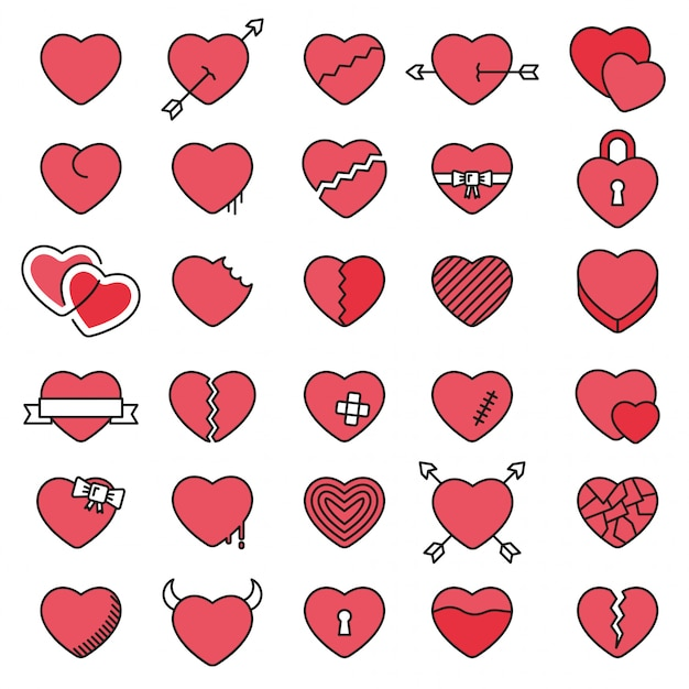 Set of 30 simple icons hearts for valentine's day Premium Vector