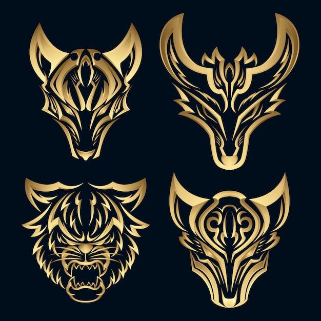 Set 3d elegant gold fox design logotype. premium luxury pictorial mark logo. Premium Vector