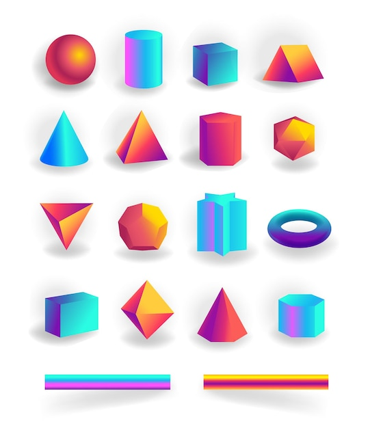 Set of 3d geometric shapes and editable strokes with holographic gradient isolated on white background, figures, polygon primitives, maths and geometry Premium Vector