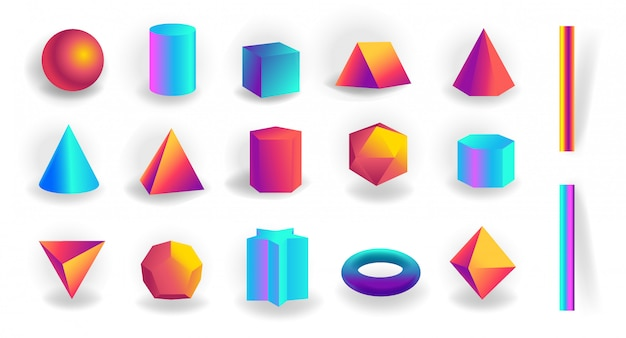 Set of 3d geometric shapes and editable strokes with holographic gradient isolated Premium Vector
