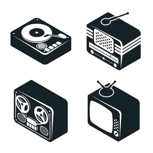Set di icone isometriche 3d di dispositivi multimediali retrò in colore bianco e nero su sfondo bianco. Vettore gratuito