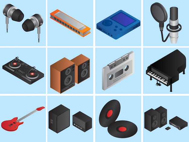 Set of 3d musical instruments Premium Vector