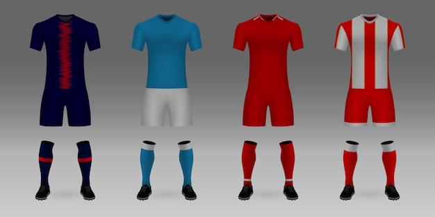 Set of 3d realistic template soccer jersey psg, napoli, liverpool Premium Vector