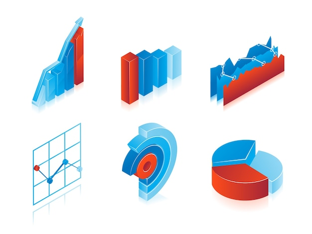 Set of 3d vector charts in blue and red: analytical pie charts, graphs and bar graphs for use as design elements in inforgraphics Free Vector
