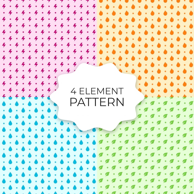 Set of 4 element seamless patterns Premium Vector