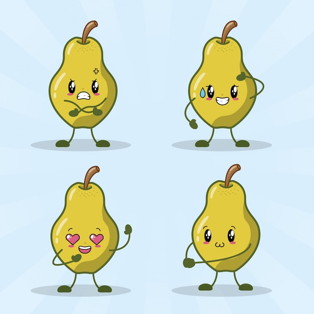 Set of 4 kawaii pears with different happy expressions Free Vector