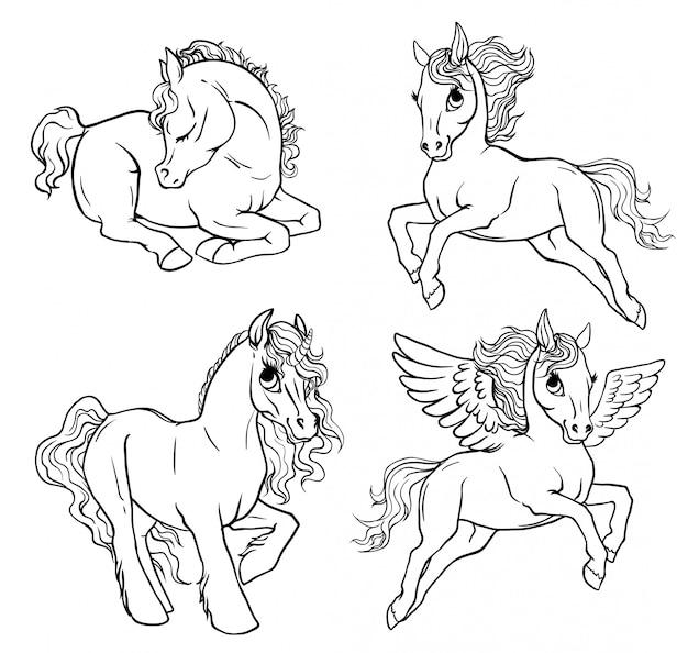 Set 4 pony coloring page. Premium Vector