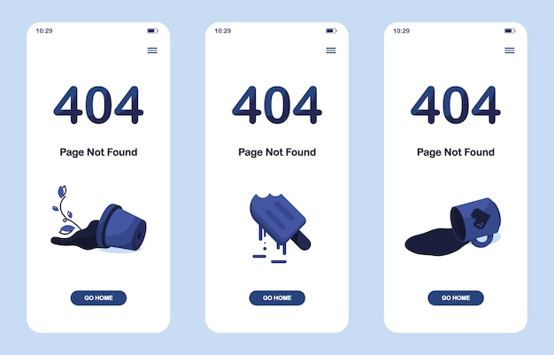 Set 404 error page not found app. mobile version. shattered pot with flower. melting ice cream or frozen juice. spilled cup of tea or coffee. for website. web template. blue Premium Vector