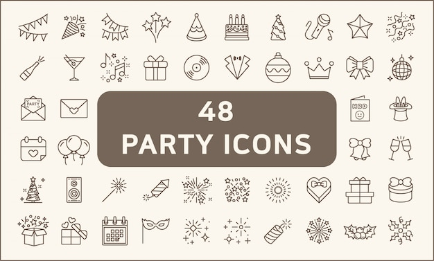 Set of 48 party and holiday icons line style. included the icons as balloons, birthday, music, firew