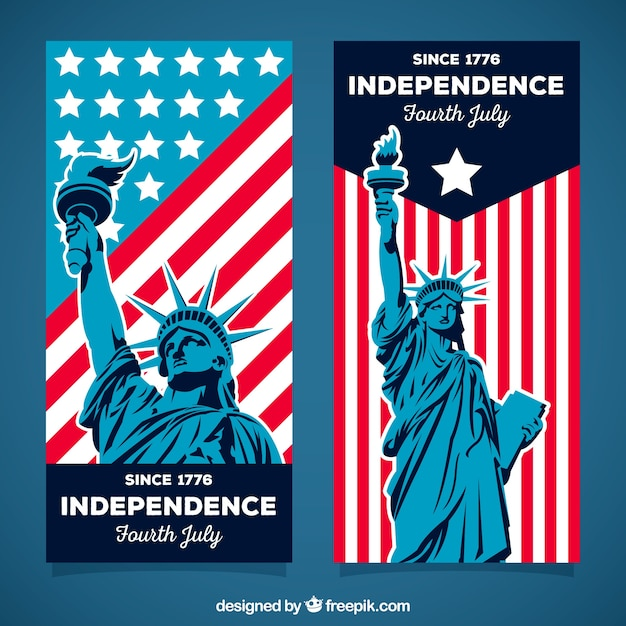 Set of 4th of july banners Free Vector