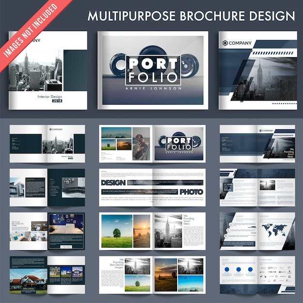 Set of 5 multiple pages brochures with cover page design. Premium Vector