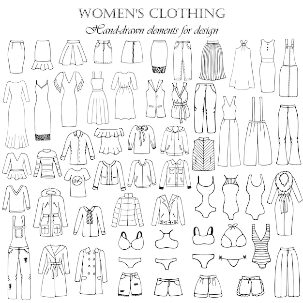 Set of 55 hand-drawn elements of a women's clothing for design. black-and-white vector illustration. Premium Vector