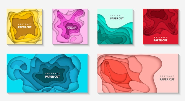 Set of 6 backgrounds with different paper cut Premium Vector