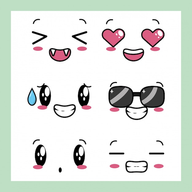 Set of 6 designs of kawaii expressions Free Vector