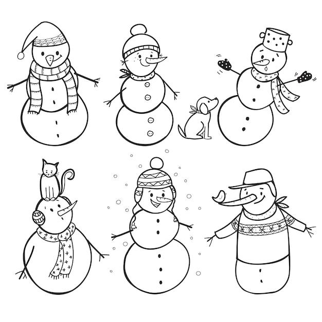 Set of  6 hand drawn snowman Premium Vector