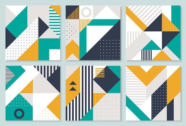 Set of 6 placard with geometric bauhaus shapes. Premium Vector