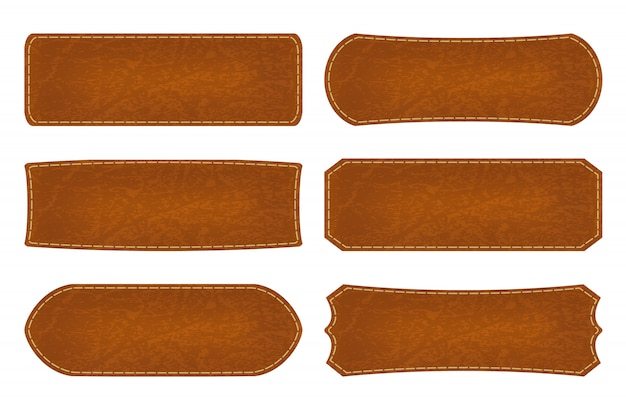 Set of 6 shapes leather sign labels Premium Vector