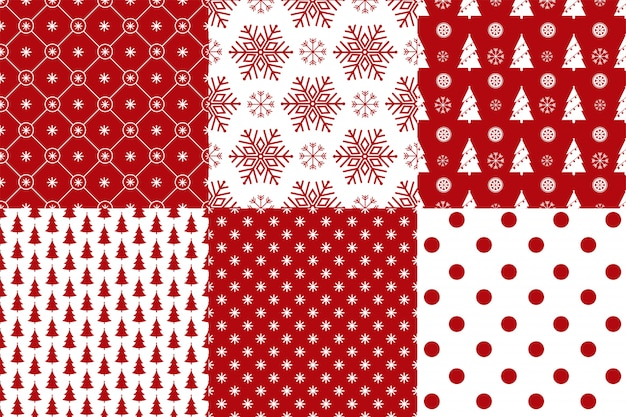 Set of 6 xmas seamless pattern red and white colors. Premium Vector
