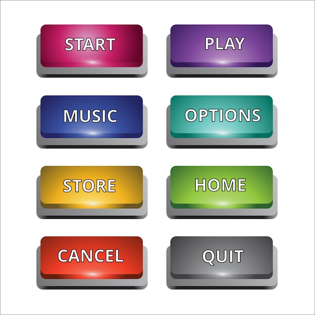 Set of 8 coloured buttons for multi purposes Free Vector