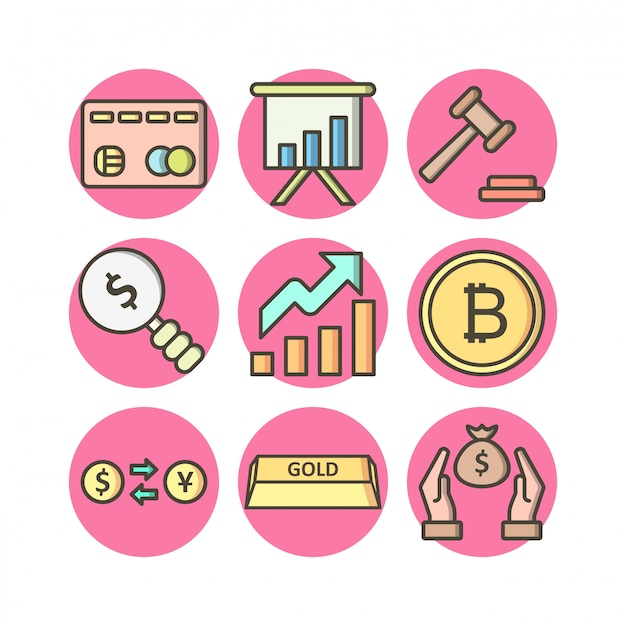 Set of 9 banking icons on white vector isolated elements Premium Vector