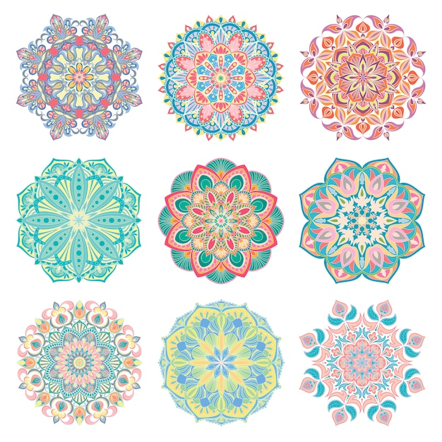 Set of 9 hand-drawn colorful vector arabic mandala. round abstract ethnic oriental ornaments. Premium Vector