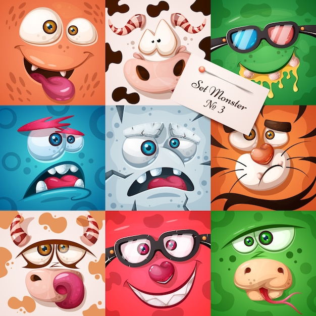 Set 9 items - funny, cute monster character. halloween illustration. Premium Vector