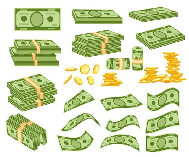 Установите разные деньги. упаковка в пачки банкнот, купюр, золотых монет. иллюстрация на белом фоне. страница веб-сайта и мобильное приложение Premium векторы