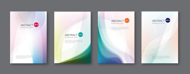 Set of abstract  backgrounds with line waves. illustration. Premium Vector