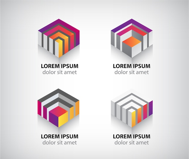 Set of  abstract colorful geometric cube logos Premium Vector