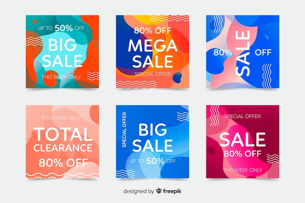 Set of abstract colorful shapes instagram posts Free Vector