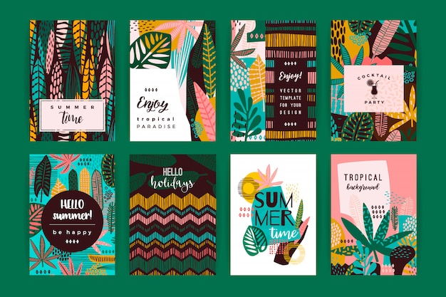 Set of abstract creative templates with tropical leaves Premium Vector