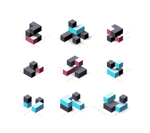 Set of abstract cubical   design elements. Premium Vector