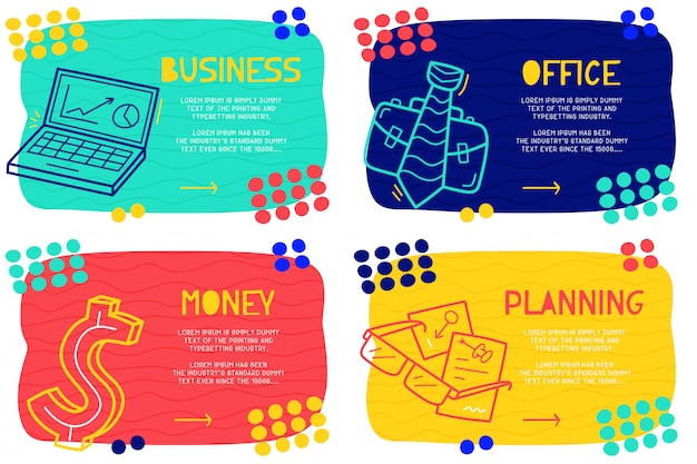 Set abstract doodle business Premium Vector