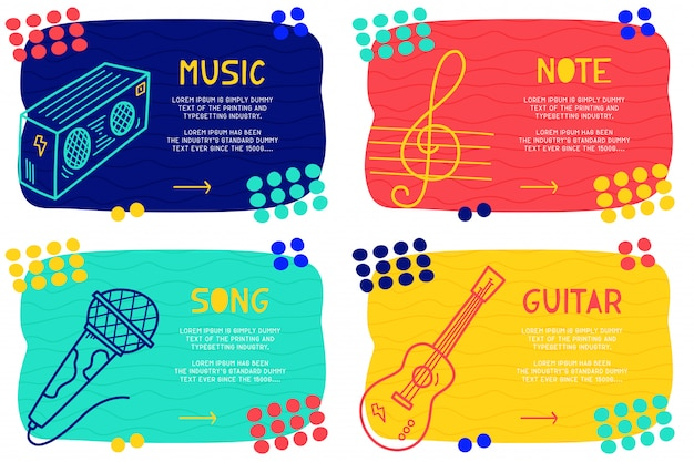Set abstract doodle music Premium Vector