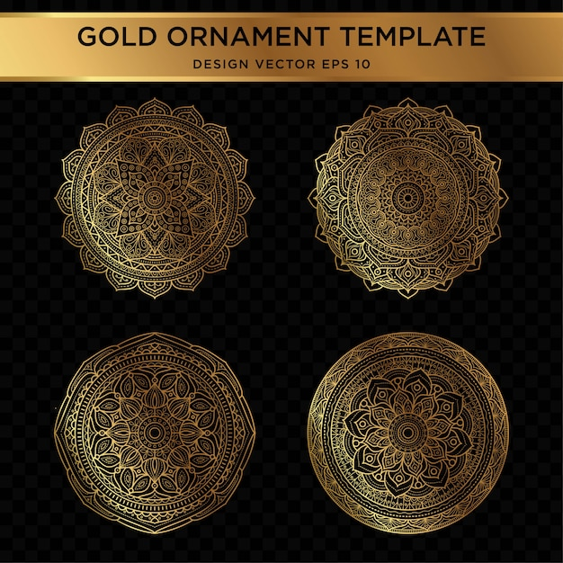 Set of abstract gold ornament design Premium Vector