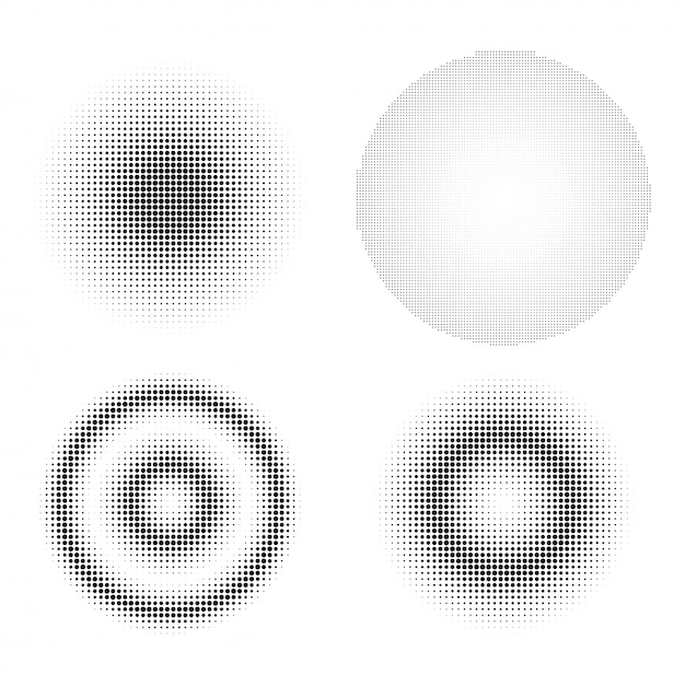 Set of abstract halftone design elements. Premium Vector