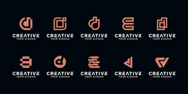 Set of abstract initial letter d, logo  template. icons for business of luxury,elegant,simple. Premium Vector