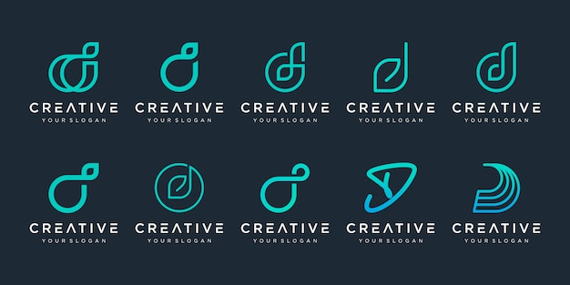 Set of abstract initial letter d logo  template. icons for business of luxury, elegant, simple. Premium Vector