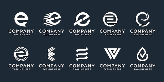 Set of abstract initial letter e logo  template. icons for business of fashion, sport, automotive, simple. Premium Vector