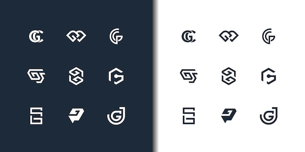 Set of abstract initial letter g logo design template. icons for business of luxury Premium Vector