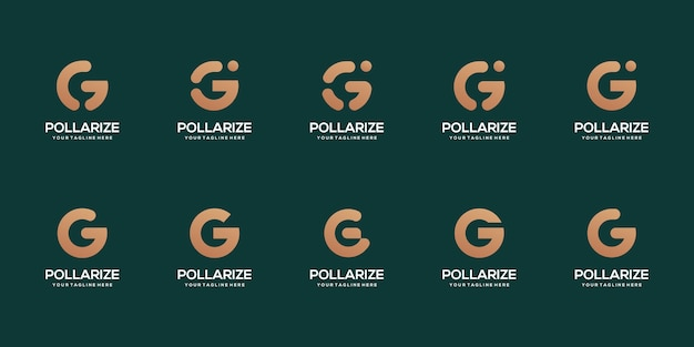 Set of abstract initial letter g logo design template Premium Vector